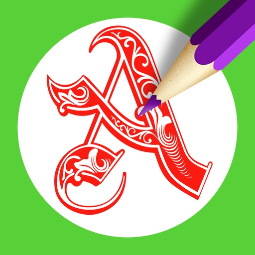 Letter Coloring Pages - Touch Coloring Book for Adults & Kids