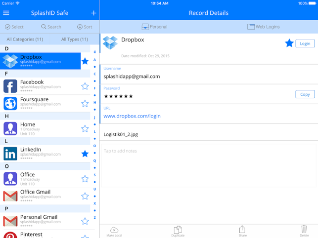 SplashID Safe Password Manager Screenshot
