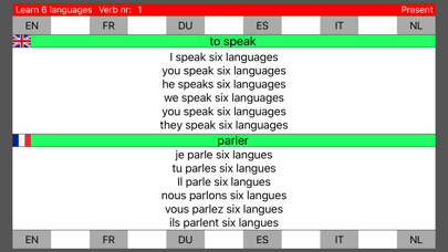 Learn 6 languages simultaneously using verbs free version screenshot one
