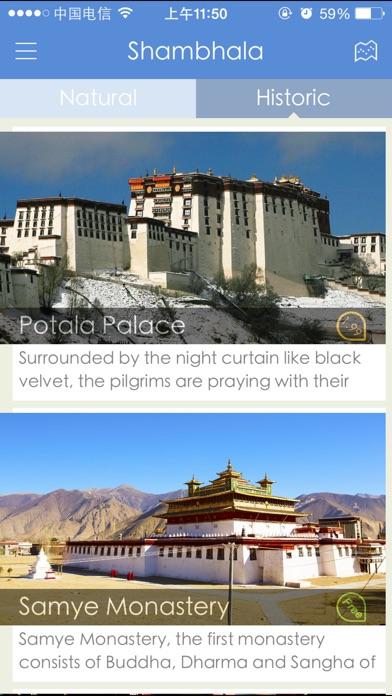 download Shambhala, une application de téléphone portable qui montre le Tibet,basée sur le support des caractères, images à haute définition, celles panoramiques de 360 degrés et vidéos apps 3