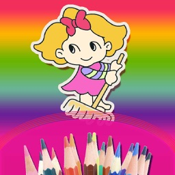 Colouring Book For Kids - Doodle , Draw & coloring cartoon girls and princess