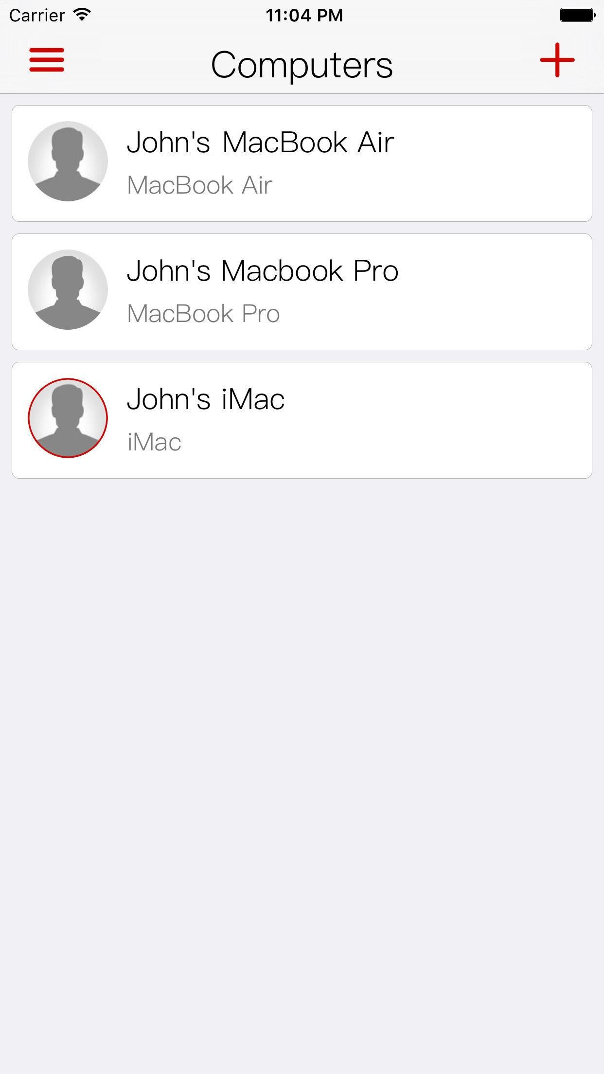 Screenshot do app FingerKey