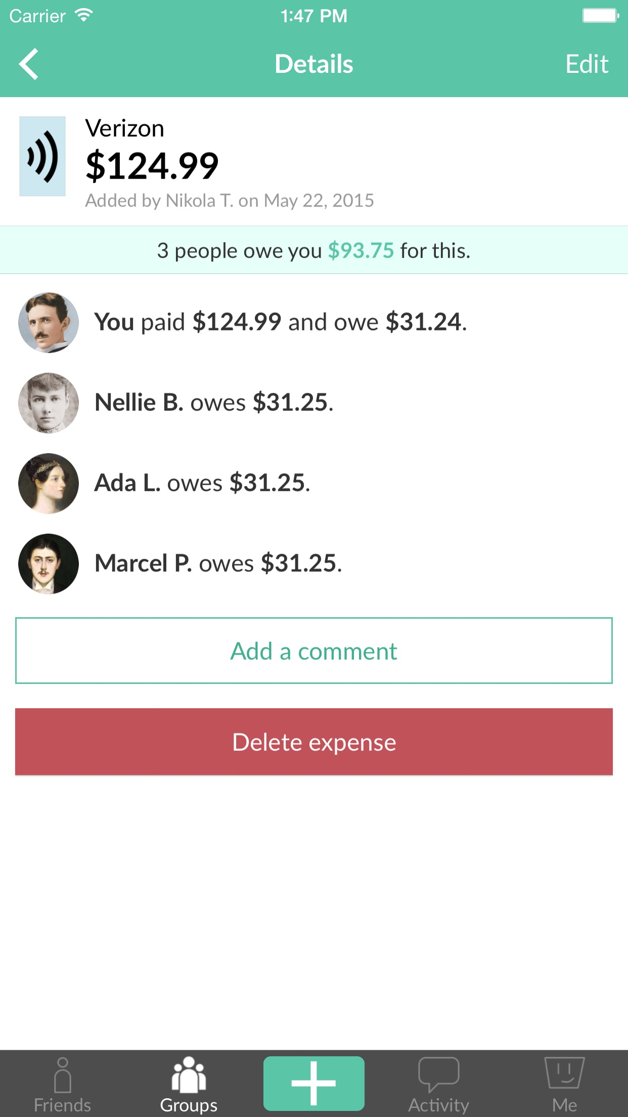 Splitwise - Split bills and expenses the easy way Screenshot
