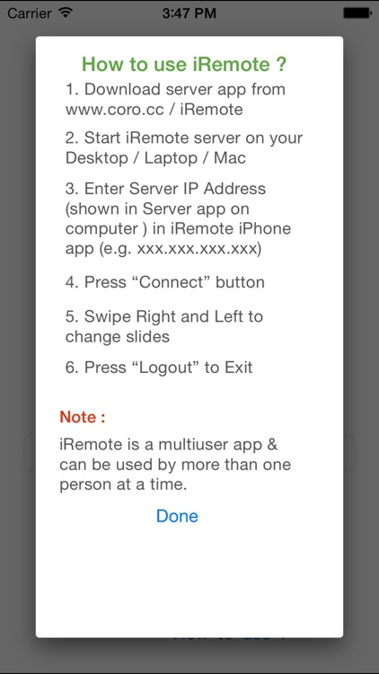 Remote for presentation and keynote