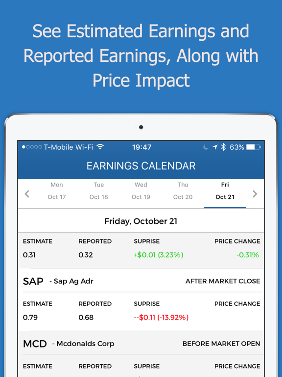Stock Earnings Calendar with Conference Calls | App Price