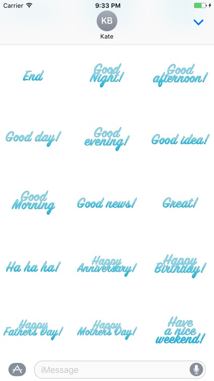 Expressions Blue Stickers for iMessage