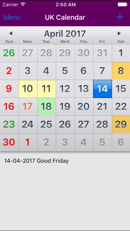 2018 UK Holiday Calendar
