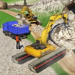 Amphibious Excavator Crane & Dump Truck Simulator