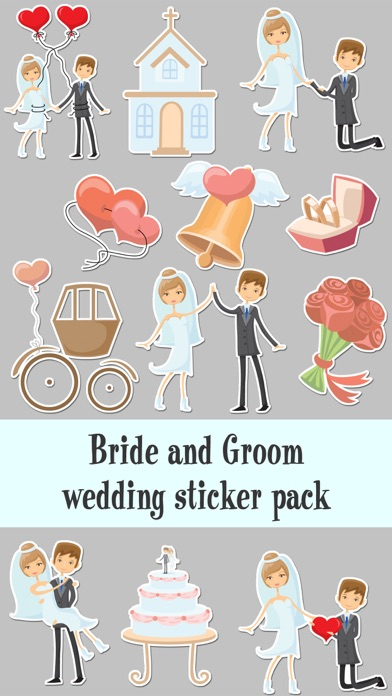 Bride and Groom Wedding Sticker Pack
