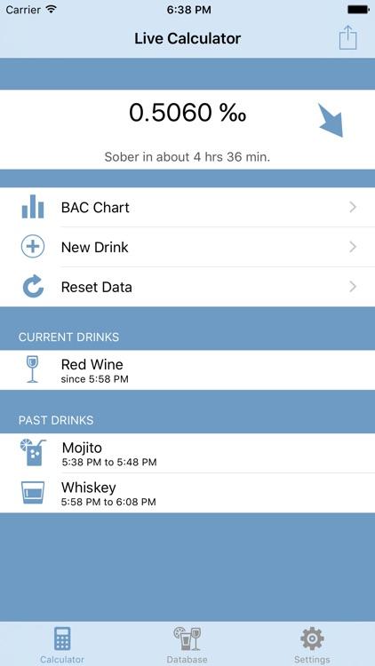 Live Blood Alcohol Content Calculator - Lite