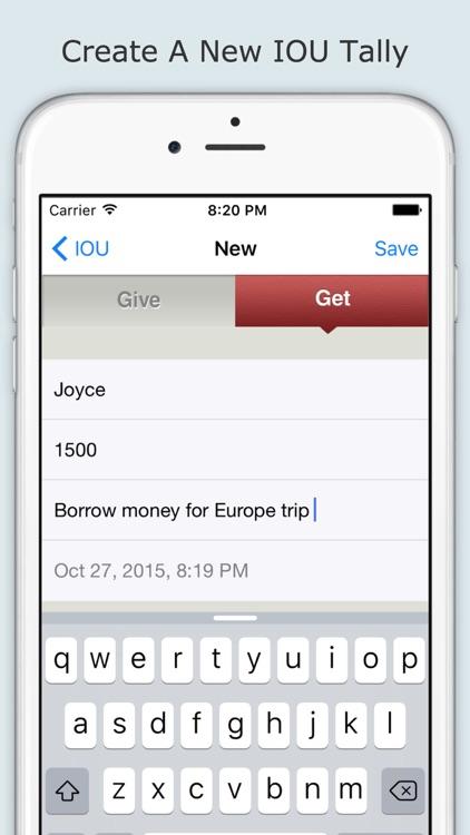IOU (I Owe You) App - Track people who owes you money