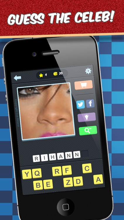 Zoomed in Celebrities Quiz - The best free word game to guess famous movie and tv celebrity photos