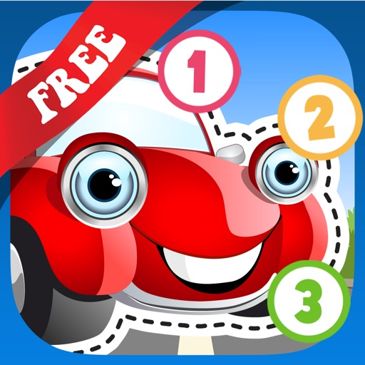 Free Kids Puzzle Teach me Tracing & Counting with Cars: Learn which wheels you need to race, what the cars look like and what sounds the cars make