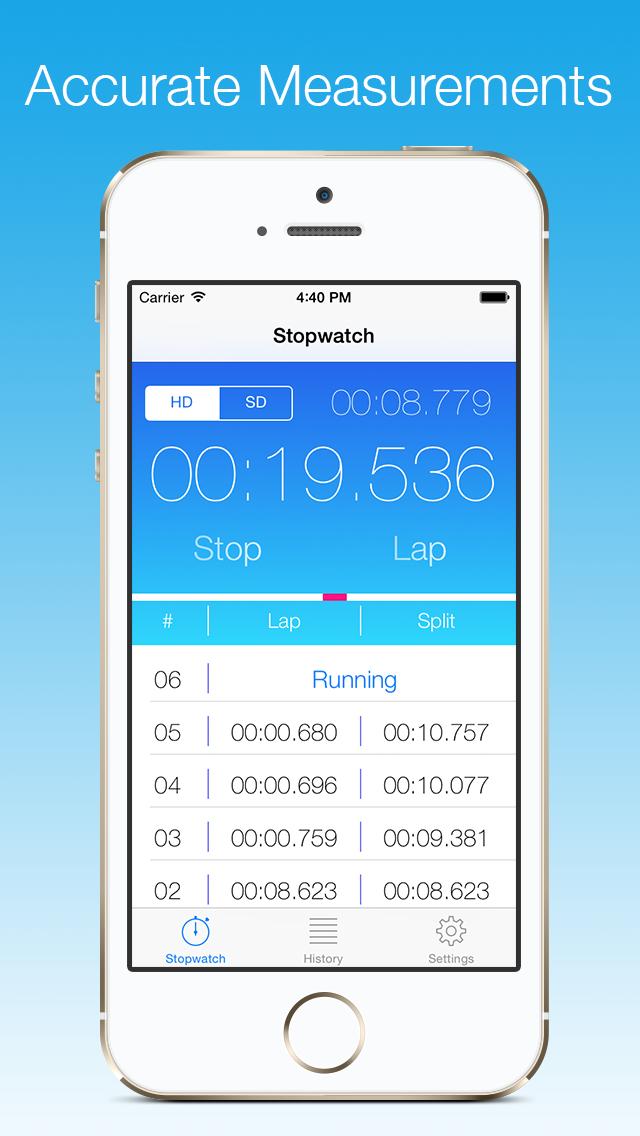 Stopwatch - ミリ秒単位の正確さを持つ専門的で正確なストップウォッチのおすすめ画像1