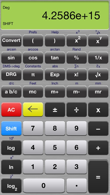 Scientific Calculator Elite - Advanced Fraction Calculator designed for Math and Science Students - Calc includes Unit Conversion, Constants, Fractions, Trigonometry, and Algebra Functions screenshot-4