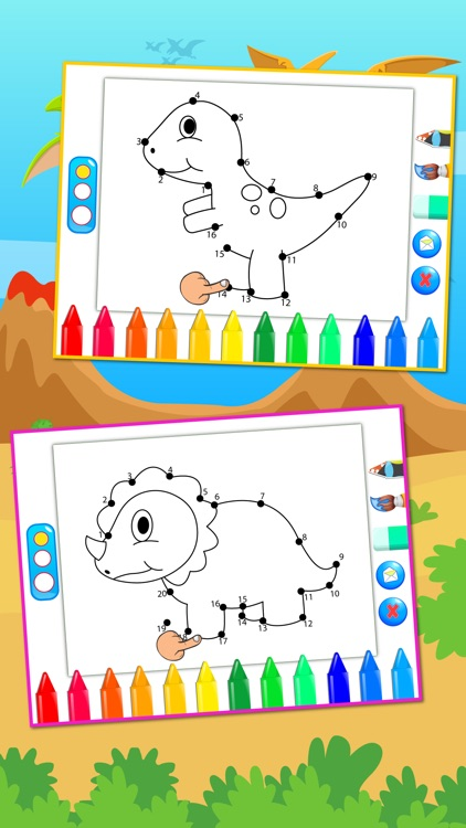 Dinosaurs Connect the Dots Coloring Book Dot to Dot Game for Kids
