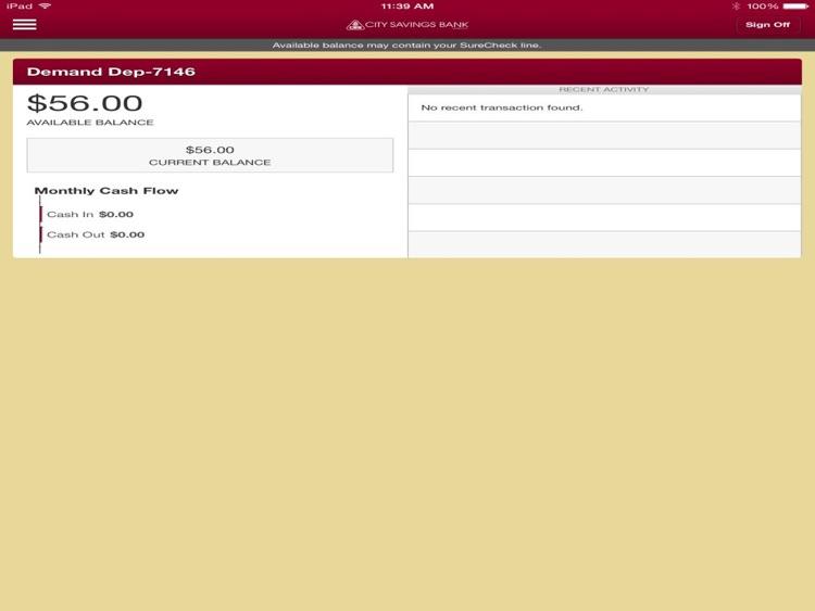 City Savings Mobile Banking for iPad