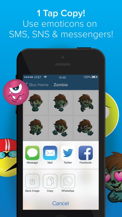 Emoticon and Emoji Box for iPhone -Save Emoticons,emoji,pic and images for Sending Message! 200 FREE emoticons and emojis - screenshot-4