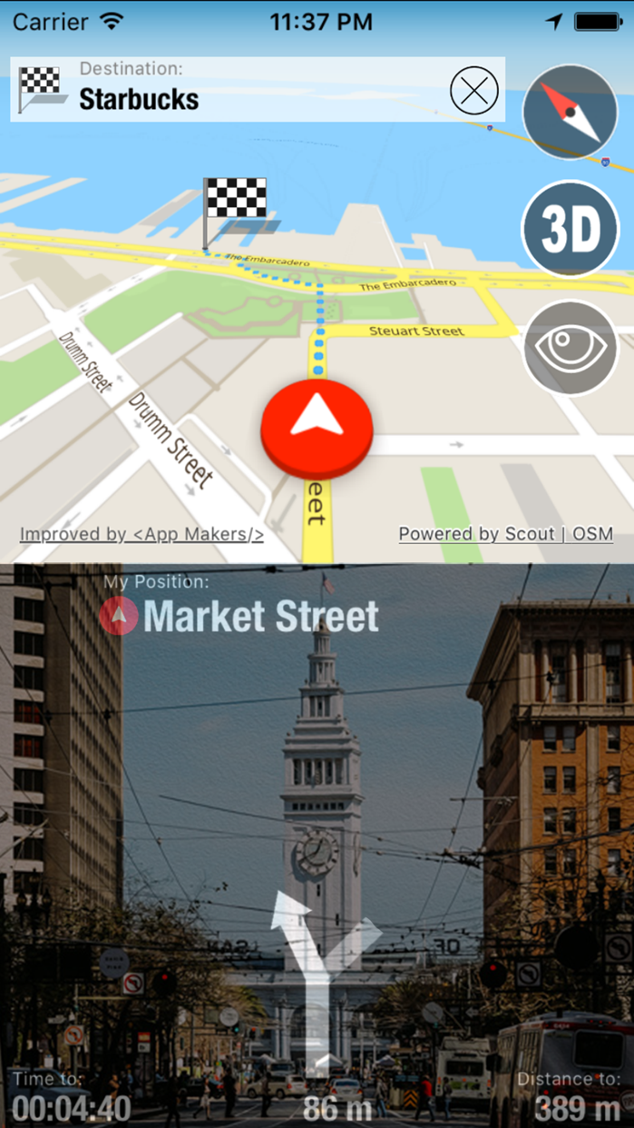 Offline Maps Globe + Voice Navigator and Video Dash Cam Screenshot