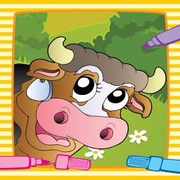 Coloring Book Page Animal Cute Farm Painting for little kids