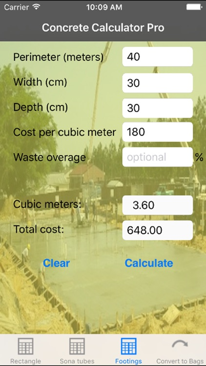 Concrete Calculator Pro Metric screenshot-2
