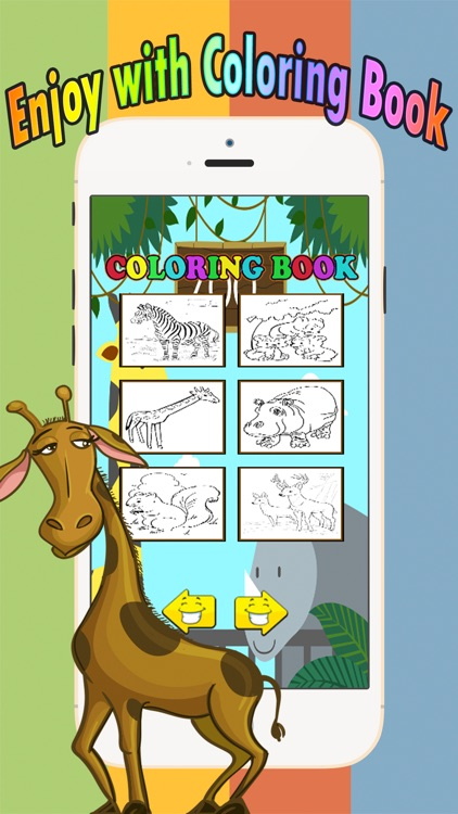 Zoo animals Coloring Book: Move finger to draw these coloring pages games free for children and toddler any age screenshot-3