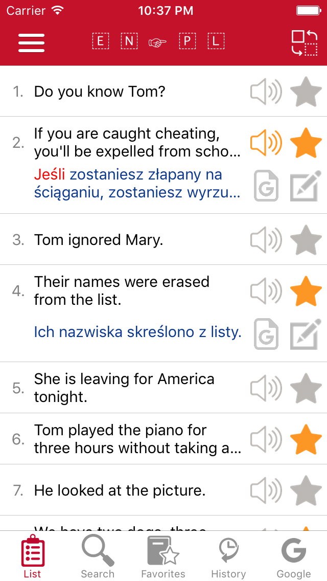 English - Polish Common Phrases screenshot one