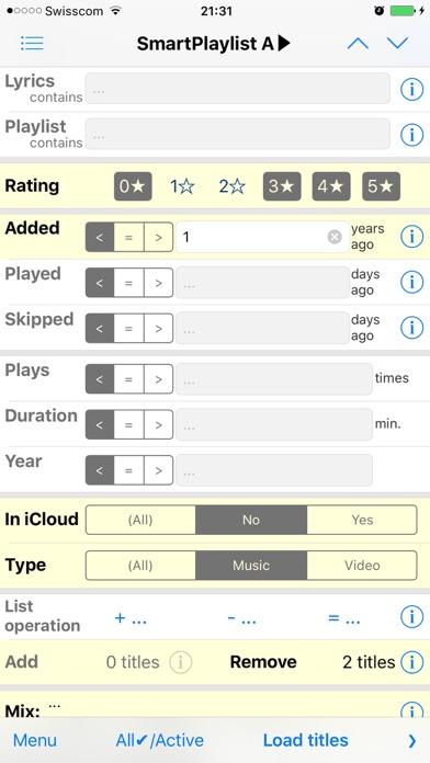 Smartplaylist review screenshots
