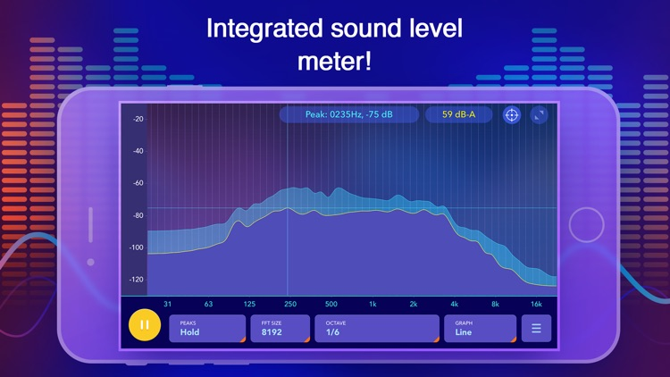 Octave Band Real Time Frequency Analyzer and Sound Level Meter