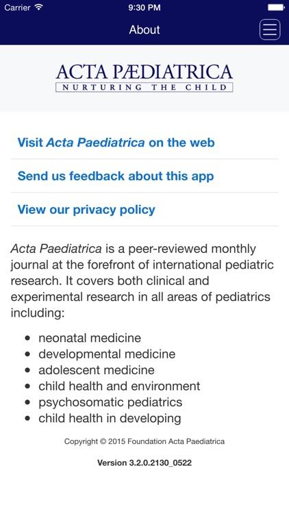 Acta Paediatrica screenshot-3