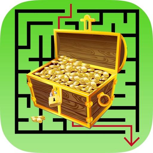 迷宮著色書:學習找到迷宮寶藏,為兒童免費遊戲