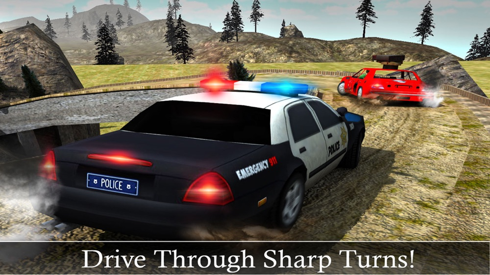 Off-Road Police Car Driver Chase: Real Driving & Action Shooting Game