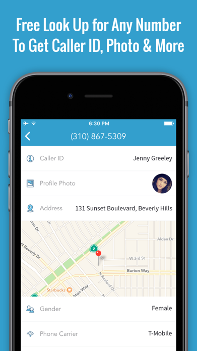 Reverse Caller ID Lookup & Free Phone Book App Screenshot