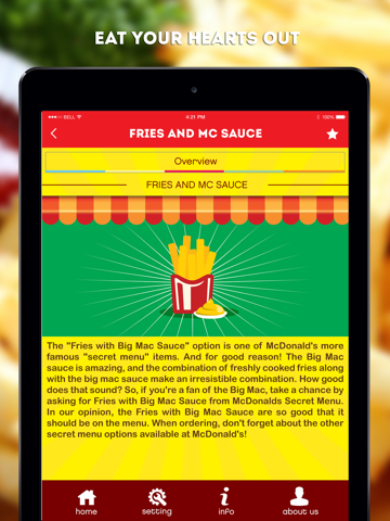 Screenshots of Secret Menu for McDonald's - McD Fast Food Restaurant Secrets for iPad