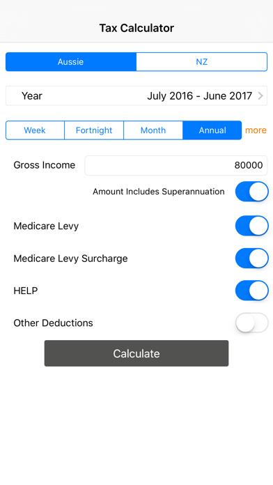 Income Tax Calculator (Aussie & NZ) screenshot one