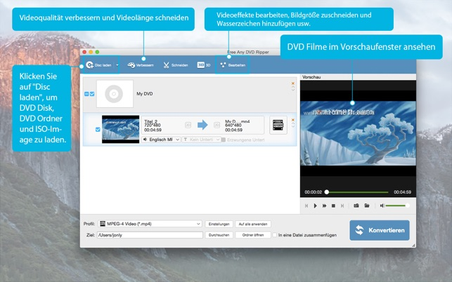 Free Any DVD Ripper-Video in DVD konvertieren Screenshot