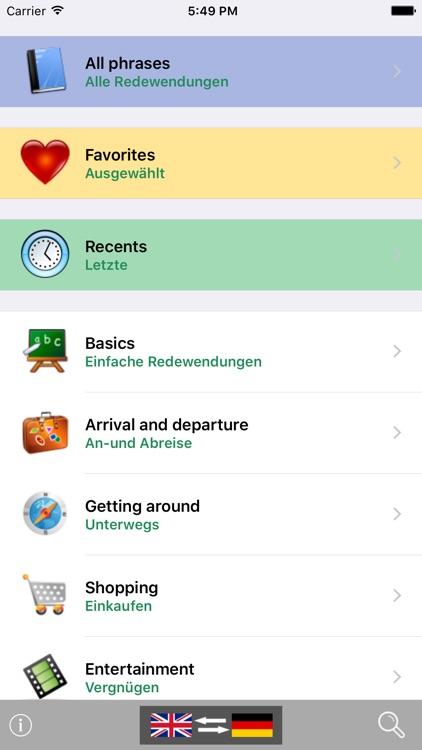 English / German Talking Phrasebook Translator Dictionary - Multiphrasebook screenshot-0