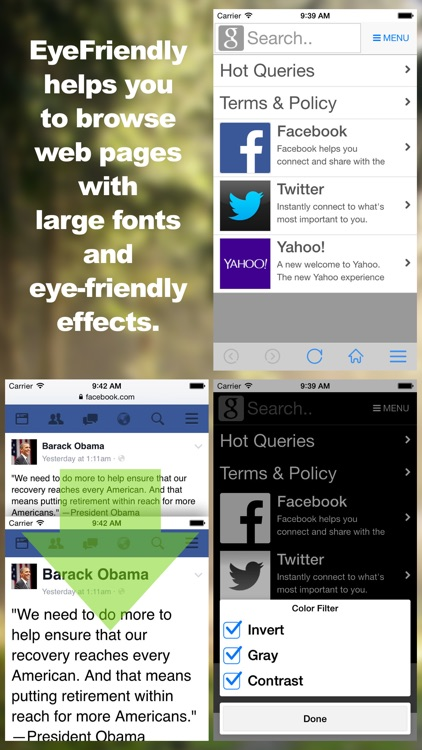 EyeFriendly - Use FB/TW comfortable with large fonts! for aged or weakened eyesight.