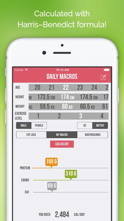 Daily Macros - Harris Benedict Formula Based Carb, Protein, Fat Macronutrient ratios and Calorie Calculator