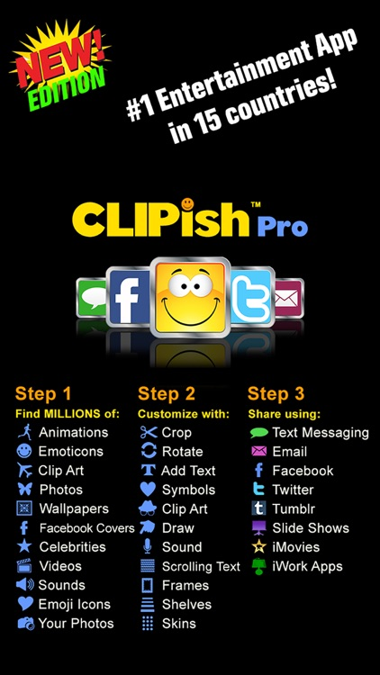 CLIPish Pro - Animations, Clipart, 3D Emoji Icons screenshot-0