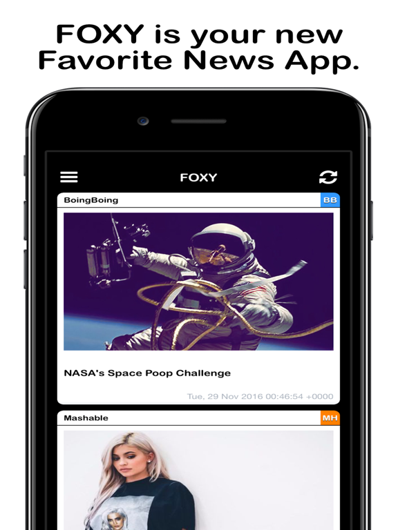 FOXY - News RSS Feed Reader for Mashable & Cracked | App Price Drops