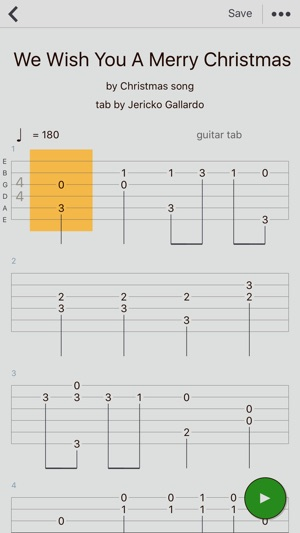 Write guitar tabs app