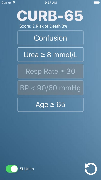 CURB-65: Medical Risk Calculator for Bacterial and Viral Pneumonia screenshot-3
