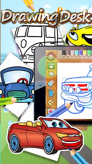 Drawing Desk Cartoon Cars Games To Coloring Book On The App Store