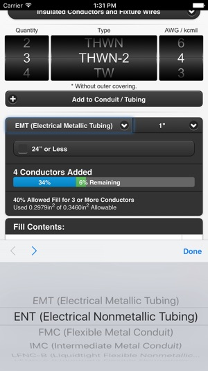 Conduit Fill Tracker On The App Store