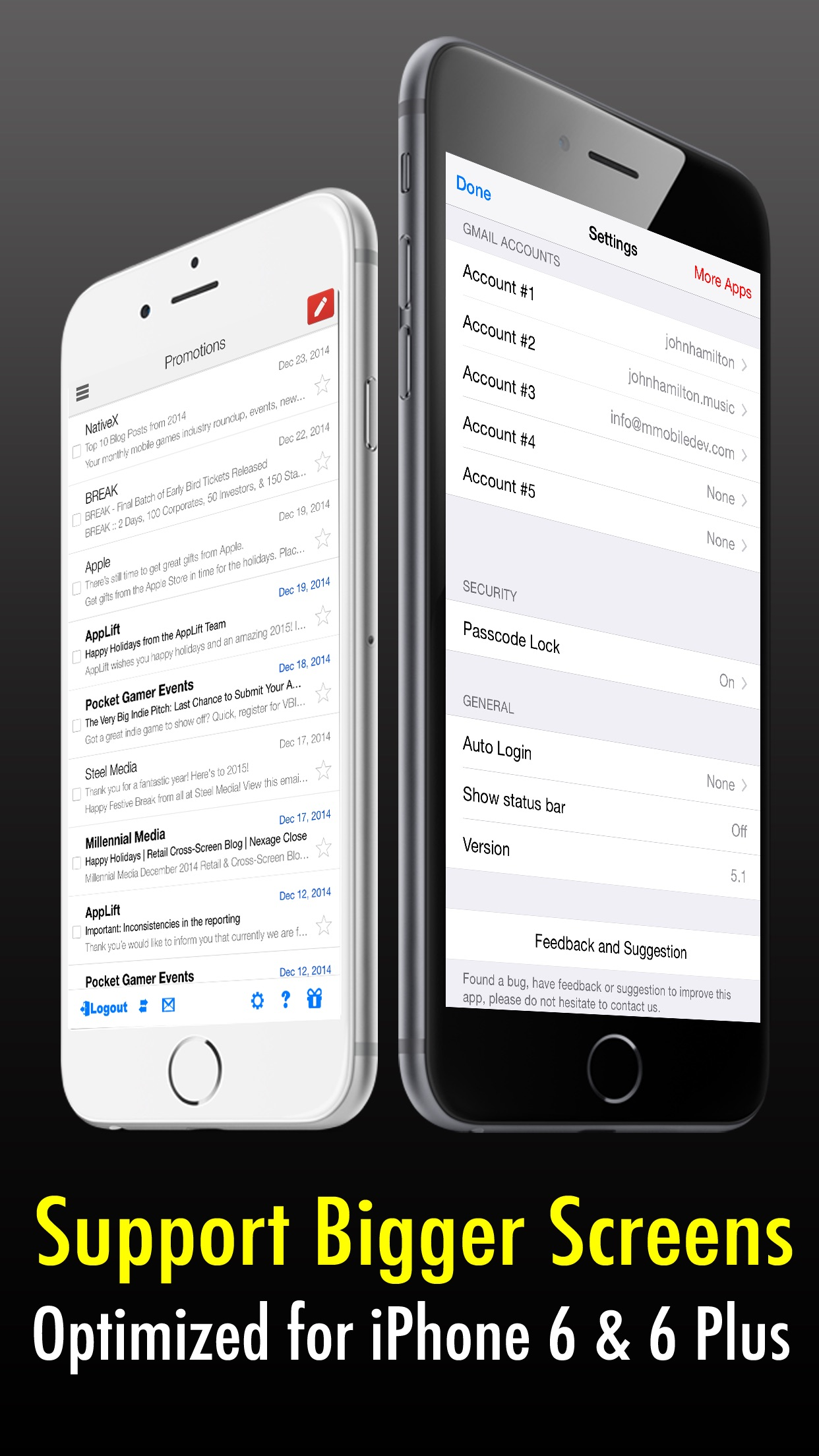 Safe Mail for Gmail : secure and easy email mobile app with Touch ID to access multiple Gmail and Google Apps inbox accounts Screenshot