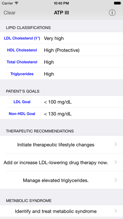 Screenshot #2 pour ATP3 Lipids Cholesterol Management