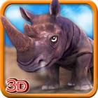 3D Rhino Simulador - simulador de animales salvajes y juego de simulación para destruir la ciudad icon