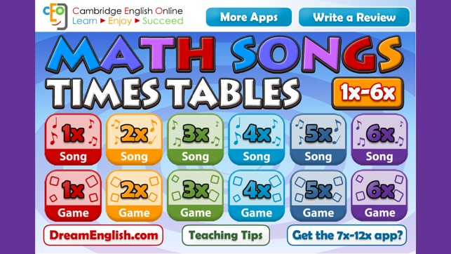 Math songs times tables 1x 6x on the app store for Table 6 song