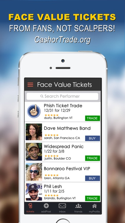 CashorTrade.org Face Value Tickets